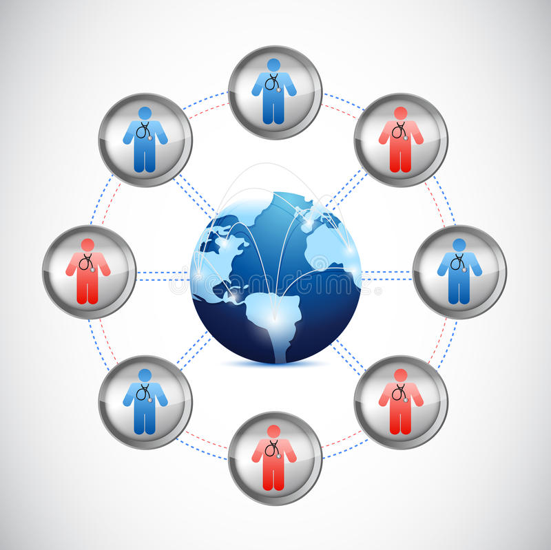 Red global internacional de los médicos ilustración del vector