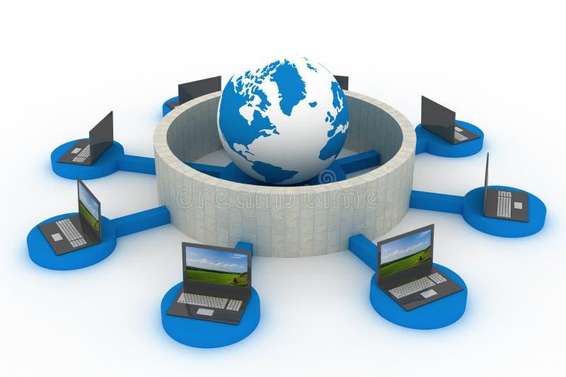 Red global protegida el Internet. libre illustration
