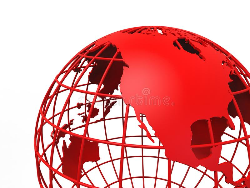 Red globe focused on North America. 3D render illustration of a red globe focused on North America. The composition is isolated on a white background vector illustration