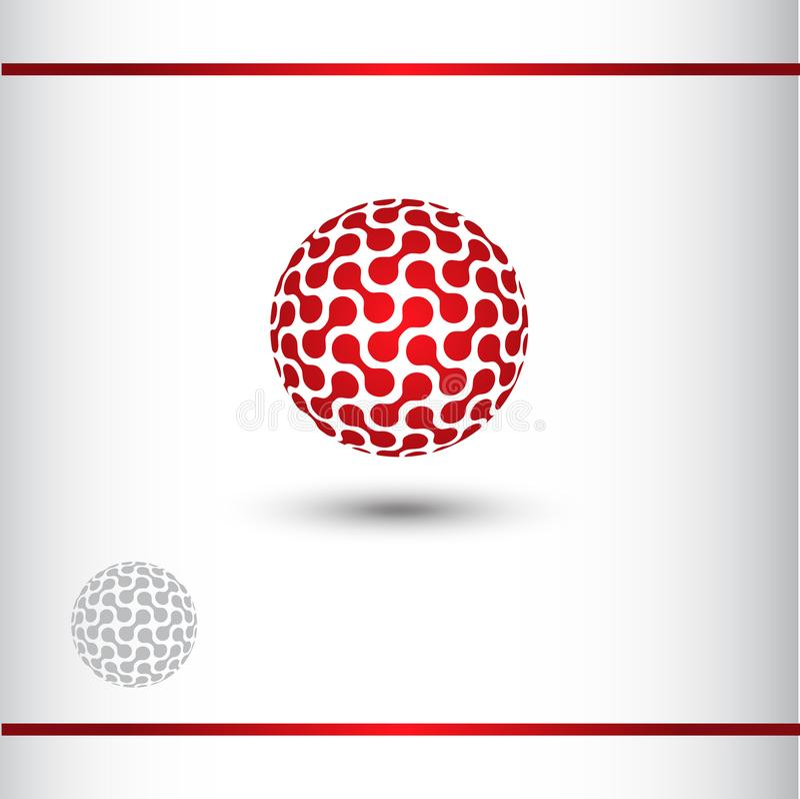 Red Globe Technical Logo, 3D sphere. 3D sphere logo with dots. Red Globe logo design. Wathermark vector illustration