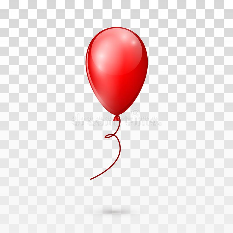 Red glossy balloon isolated on transparent background. vector illustration stock illustration