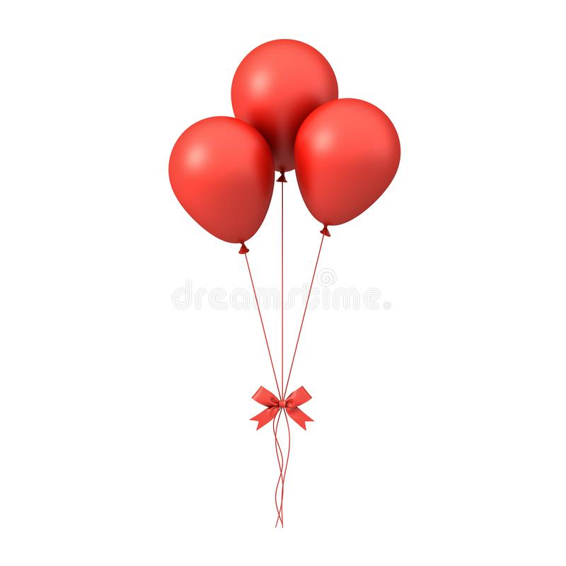 Red glossy balloons with red ribbon bow isolated on white background stock photography