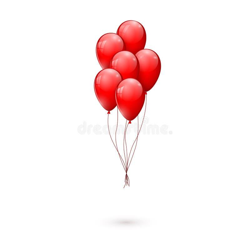 Red glossy balloons. vector illustration royalty free illustration
