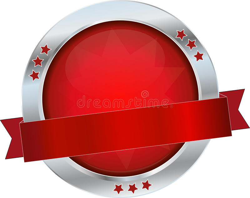Red glossy button. Red glossy round metallic button stock illustration