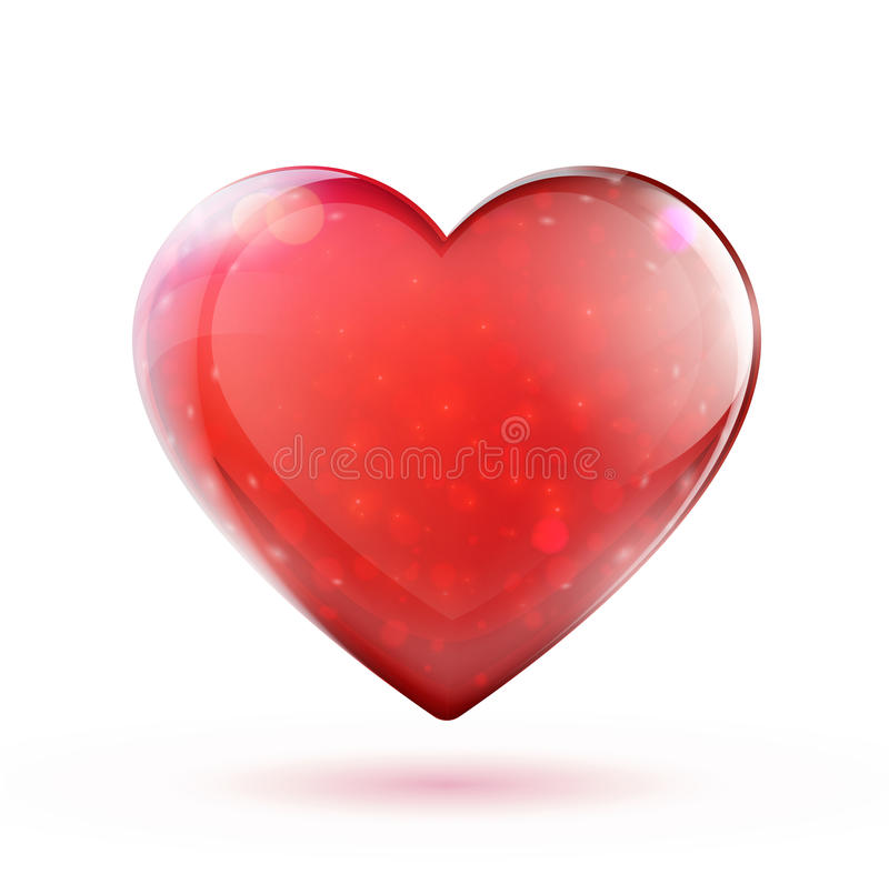 Red glossy heart stock illustration