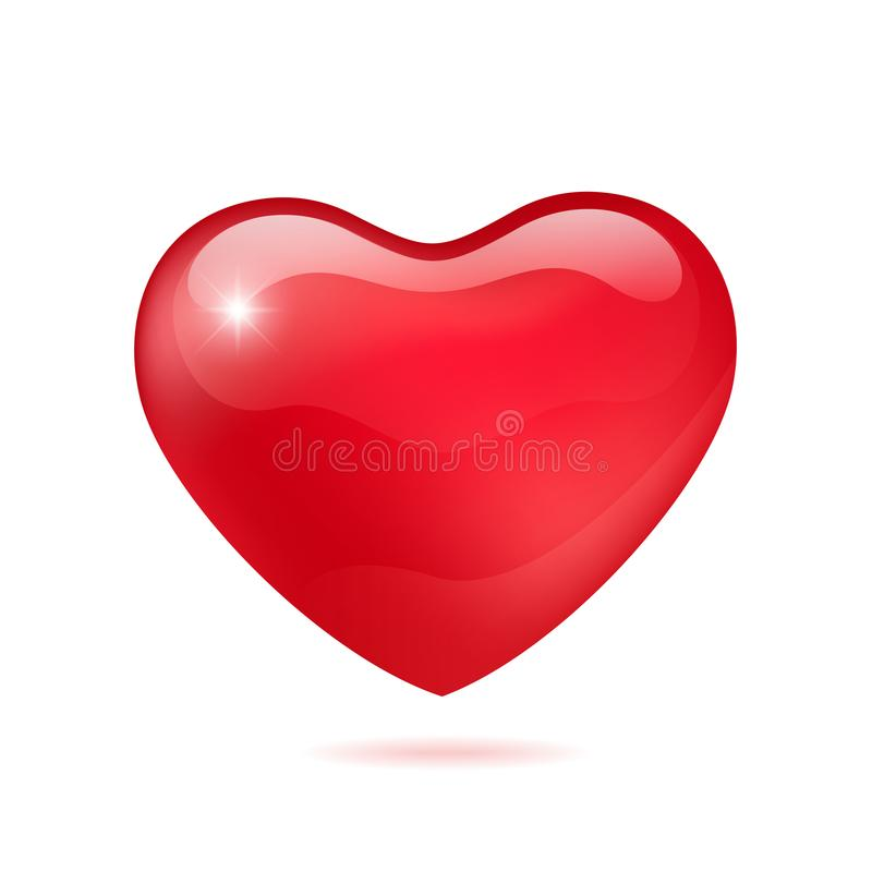 Red glossy heart vector illustrations. The heart as a symbol of love. vector illustration