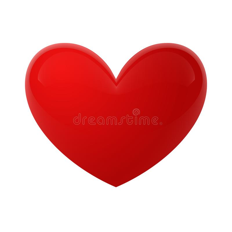Red glossy heart vector illustrations. The heart as a symbol of love. royalty free illustration