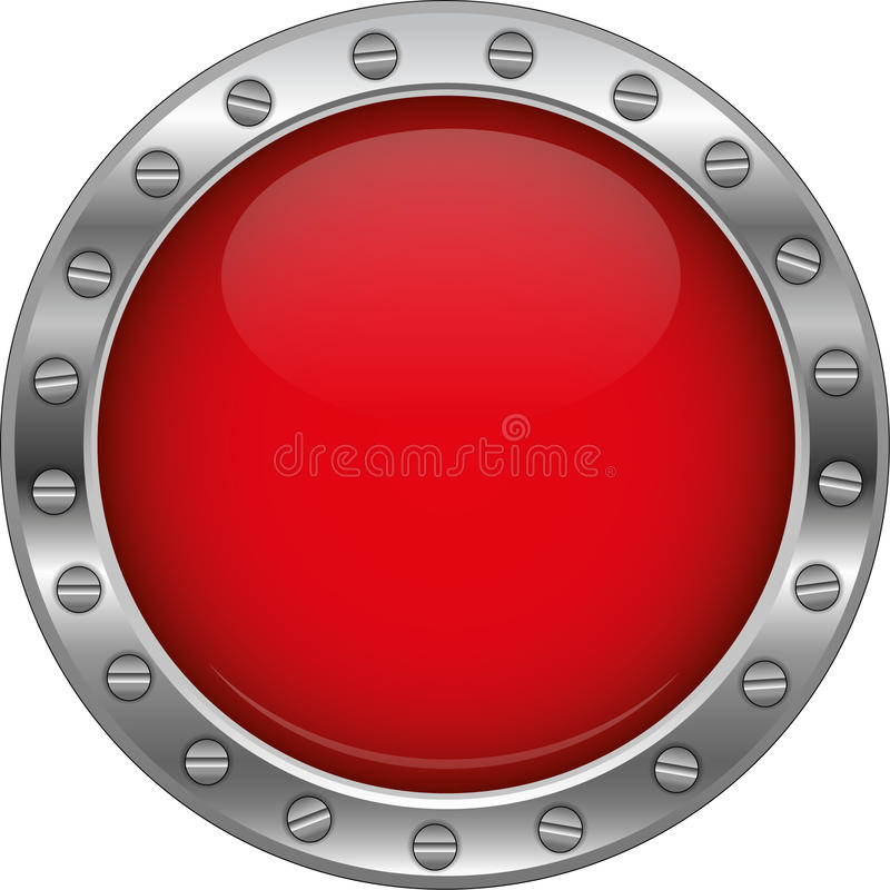 Red glossy metallic button vector illustration