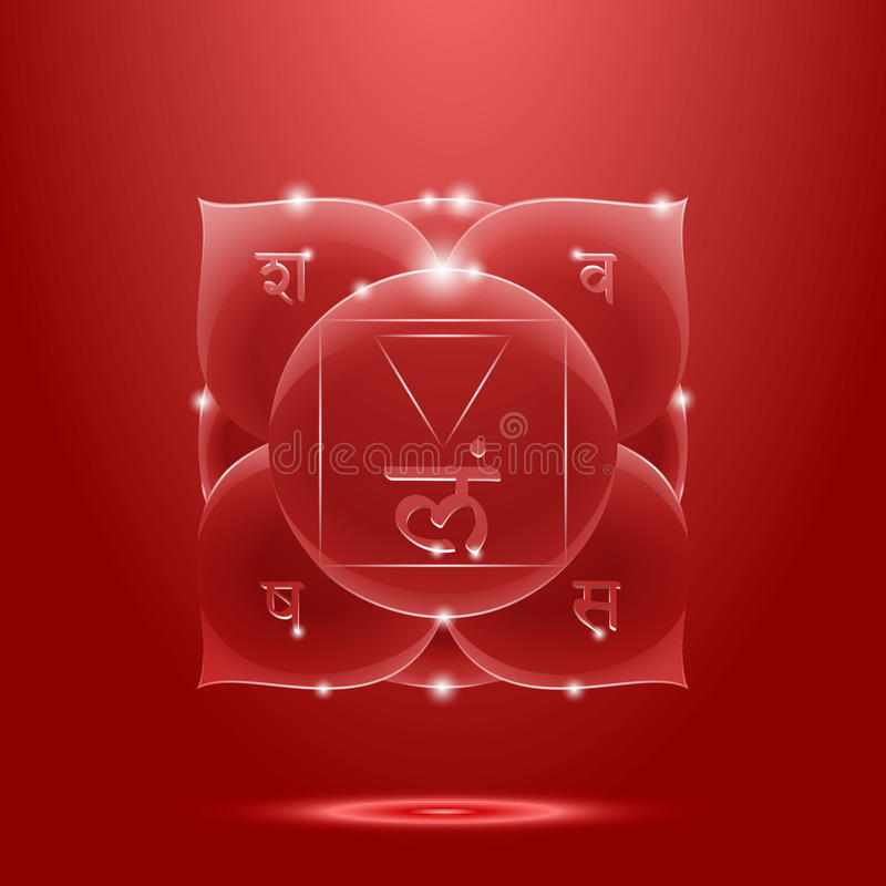 Red glossy muladhara chakra banner vector illustration