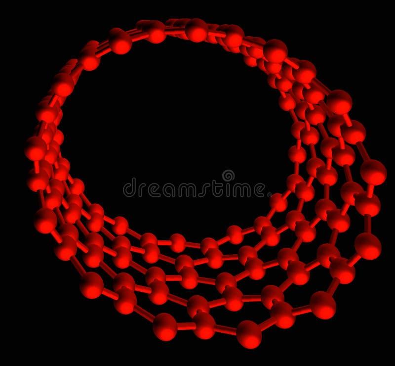 Red glossy nanotube on black stock illustration