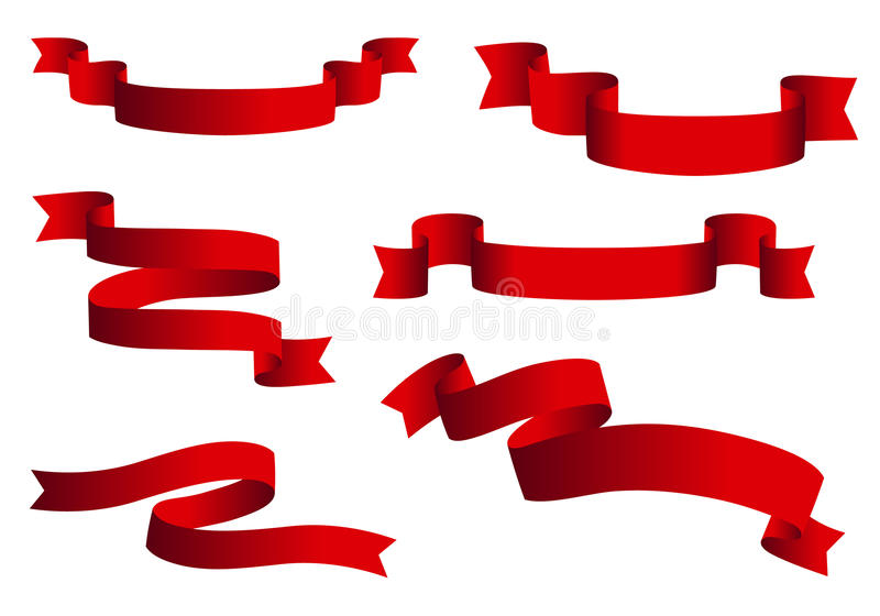 Red glossy ribbon vector banners set. Ribbons collection isolated on white background.  royalty free illustration
