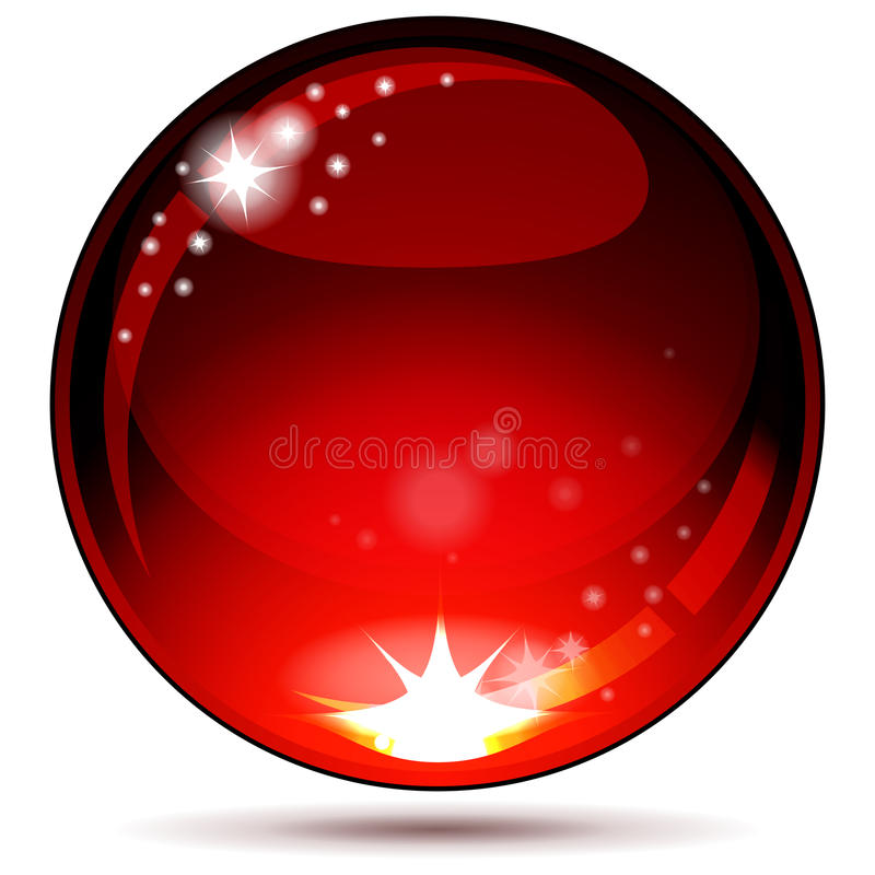 Red glossy sphere isolated on white. royalty free stock photos