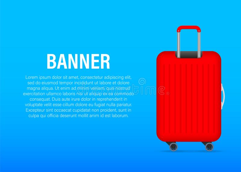 Red glossy suitcase with wheels. Travel banner concept. Vector stock illustration royalty free illustration