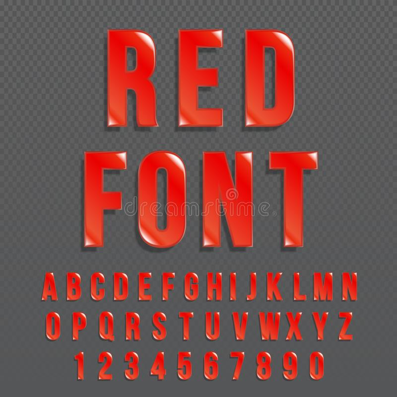 Red glossy vector font or red alphabet. Red colored typeface. Red colored alphabet typographic illustration. royalty free illustration