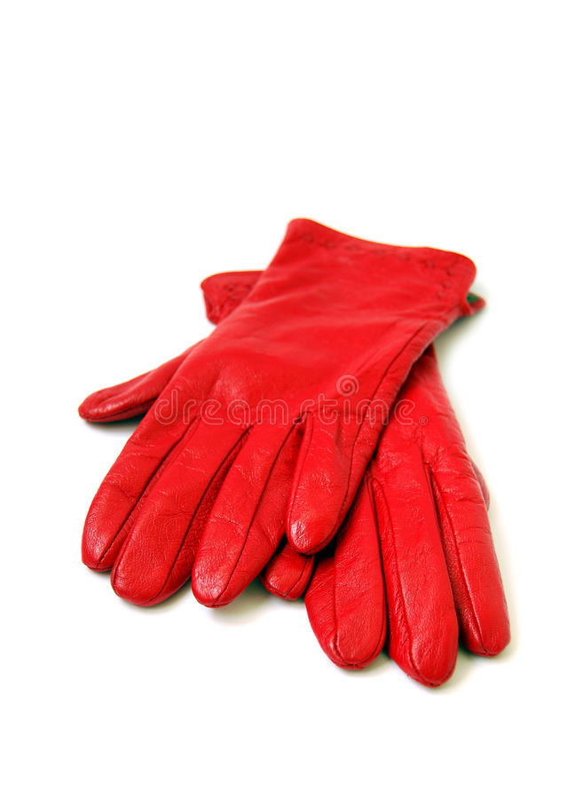 Red gloves stock image