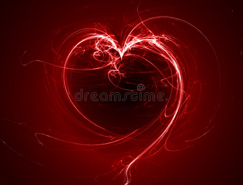 Red glowing fractal heart. Red glowing digitally generated fractal heart image royalty free illustration