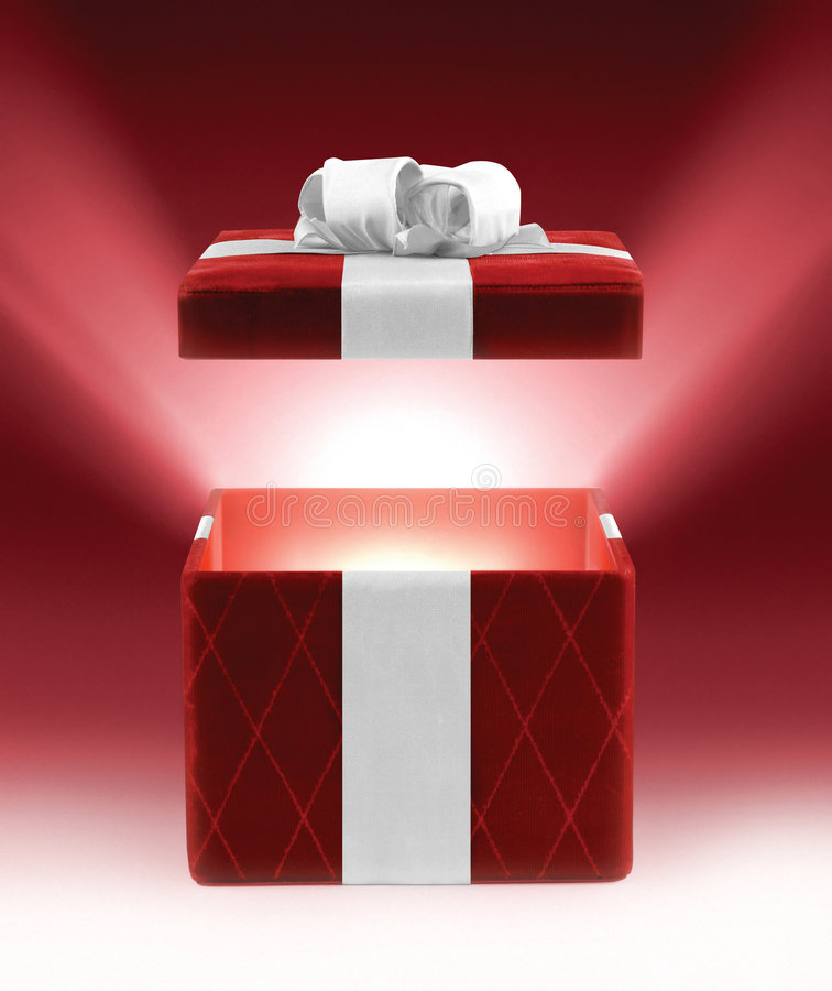 Red glowing gift stock images