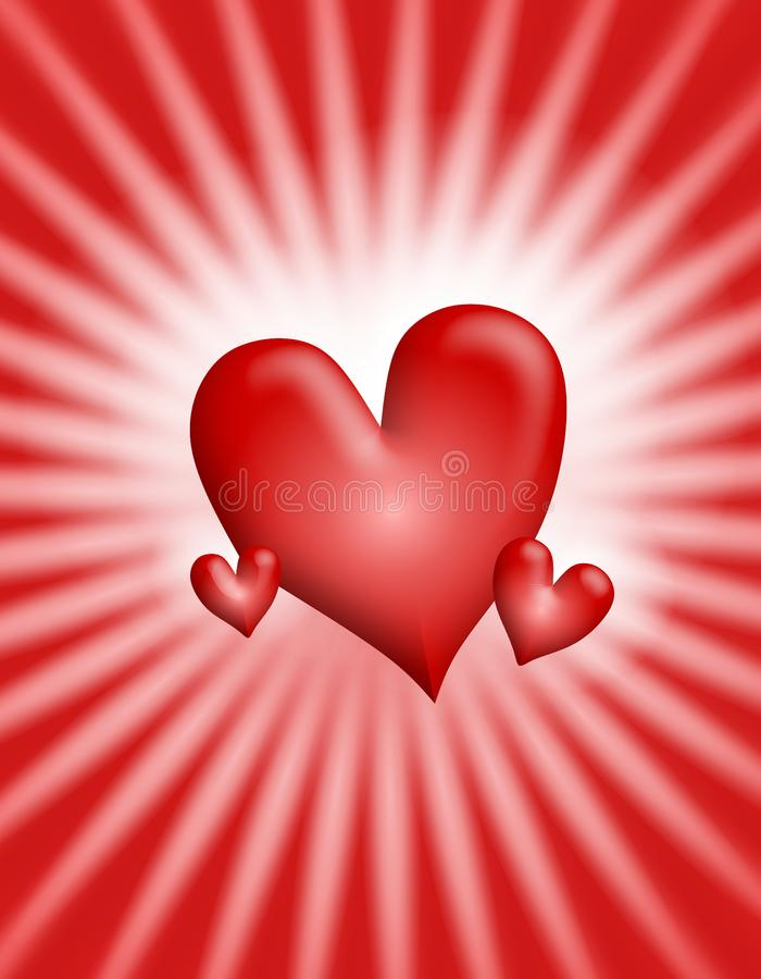 Red Glowing Light Rays Hearts Background 2 royalty free stock photography