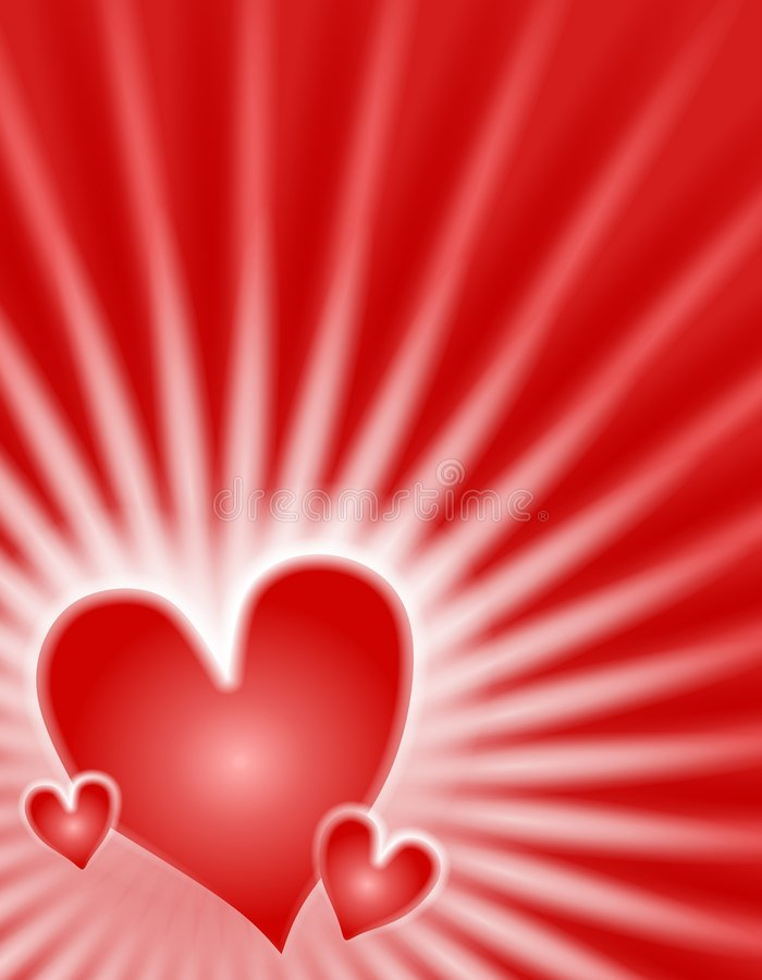 Red Glowing Light Rays Hearts Background stock images
