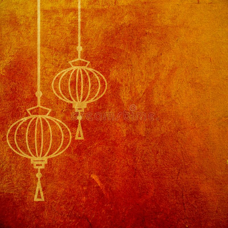 Red and gold abstract textured background with chinese lanterns. Lunar new year artistic wallpaper stock illustration