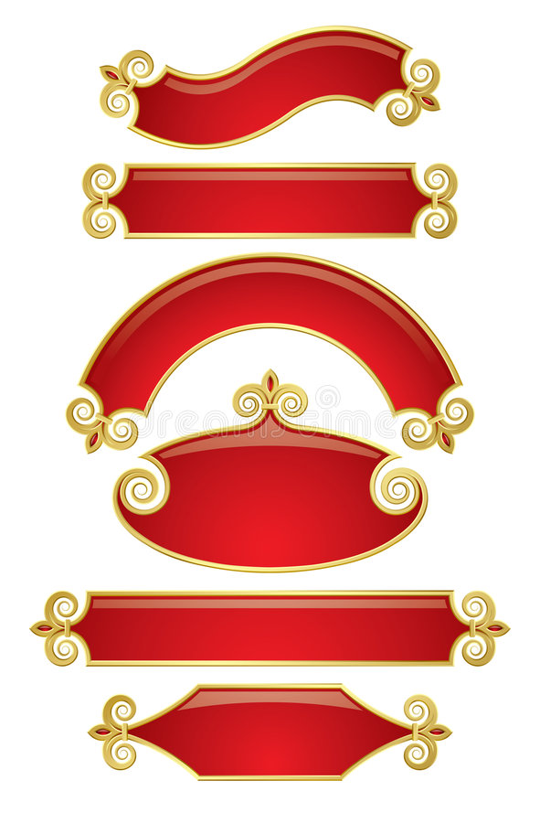 Red-gold banners royalty free illustration