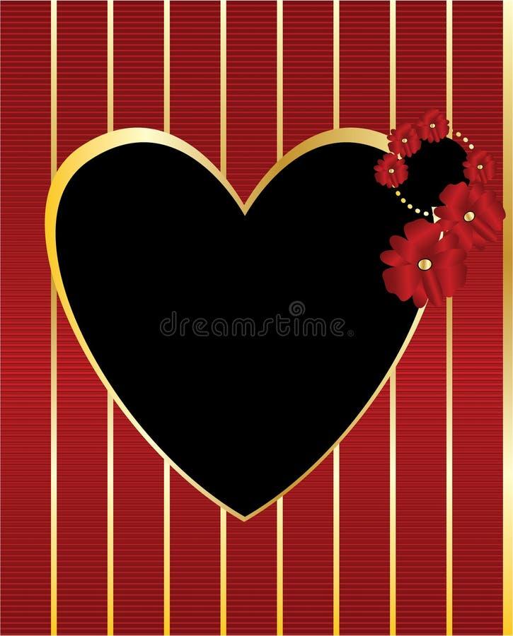 Red gold black heart frame background stock illustration