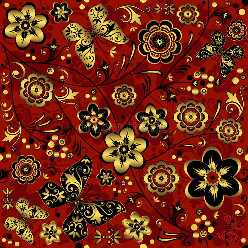 Red-gold-black seamless vintage pattern royalty free illustration