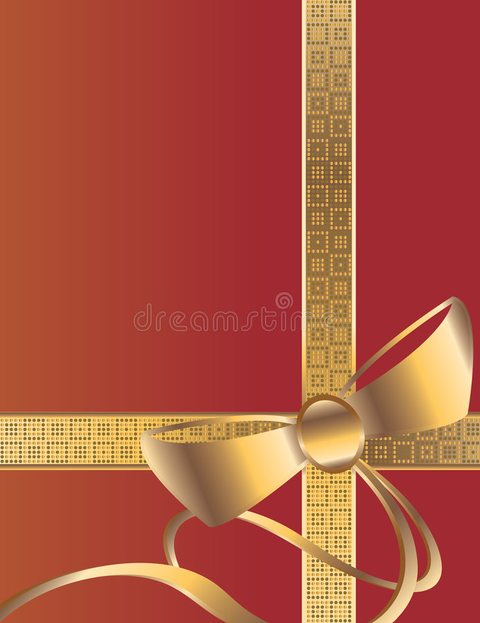 Red gold bow background vector illustration