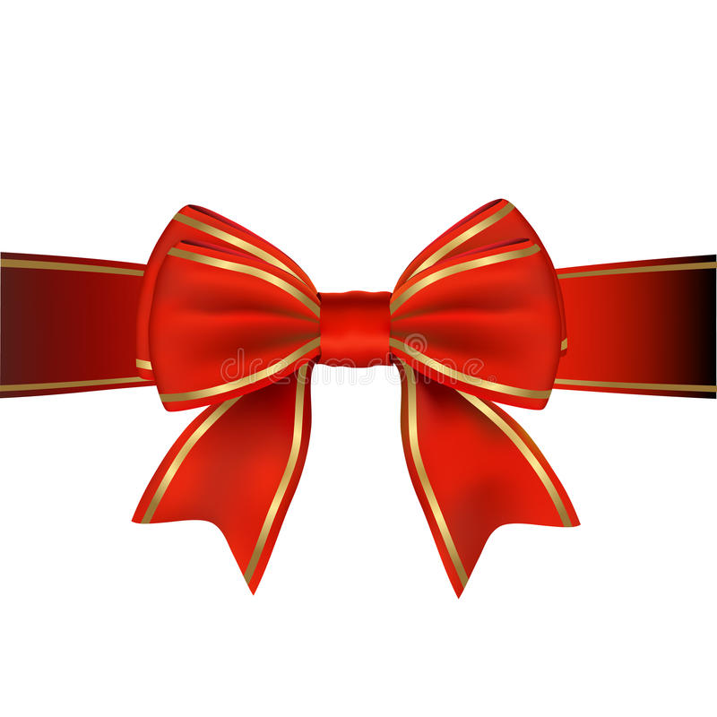 Red & Gold Bow & Ribbon Gift royalty free illustration