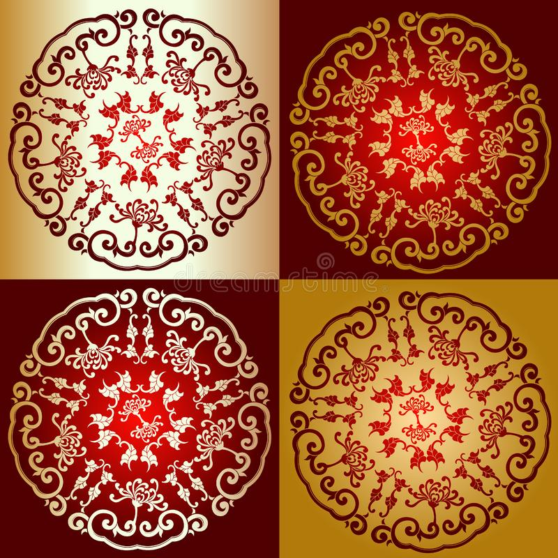 Free Red Gold Chine Ornament Royalty Free Stock Photography - 4048607