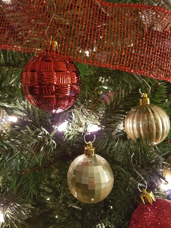 Red and gold Christmas ball decorations royalty free stock photos