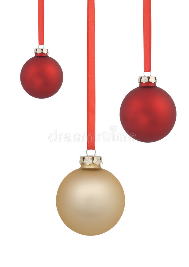 Red and gold christmas balls stock photos