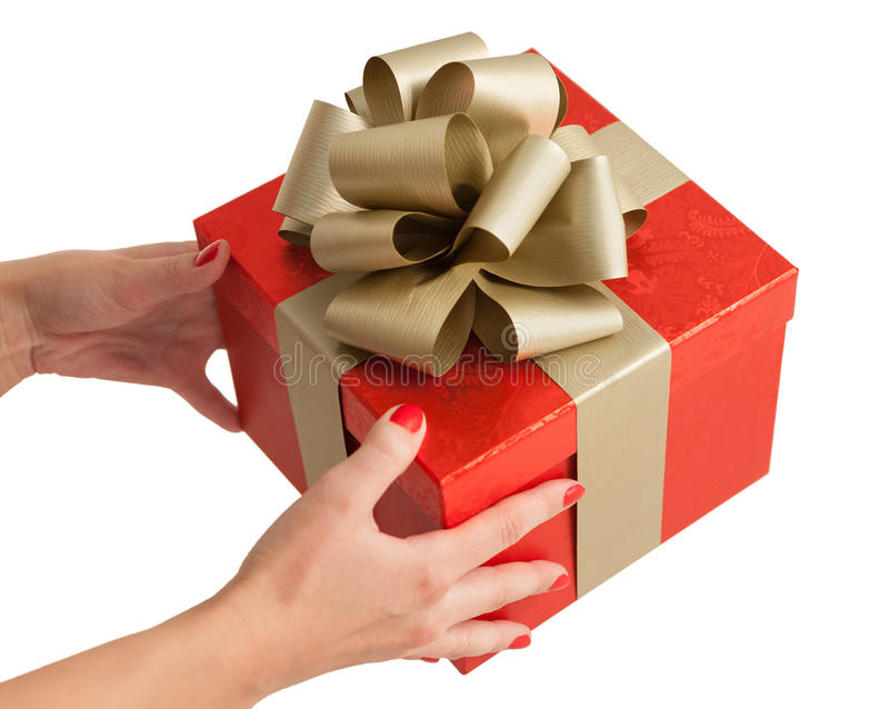 Red gold christmas birthday gift box holding hands stock photo download red gold christmas birthday gift box holding hands stock photo image of gold negle Choice Image