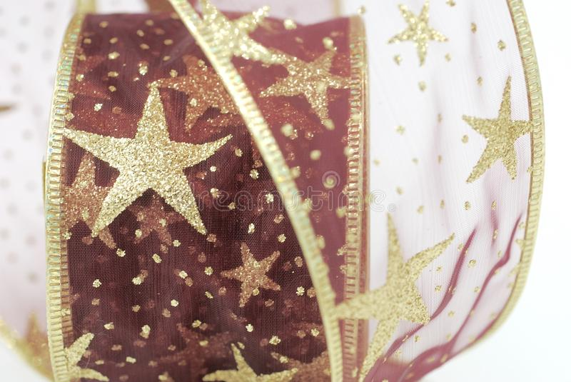 Red and Gold Christmas Ribbon royalty free stock images