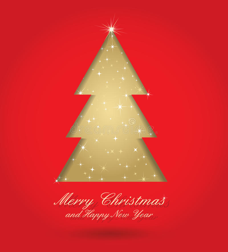 Red and gold christmas tree royalty free illustration