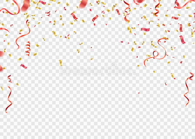 Red and gold confetti, serpentine or ribbons falling on white tr. Ansparent background vector illustration. Party, festival stock illustration