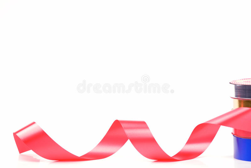 Red and gold curl ribbon royalty free stock photos