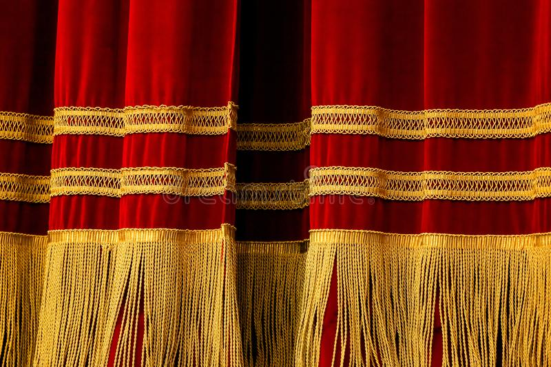 Red Gold Curtains stock images