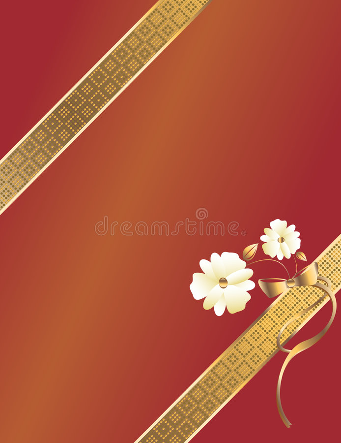 Red gold diagonal ribbon royalty free illustration