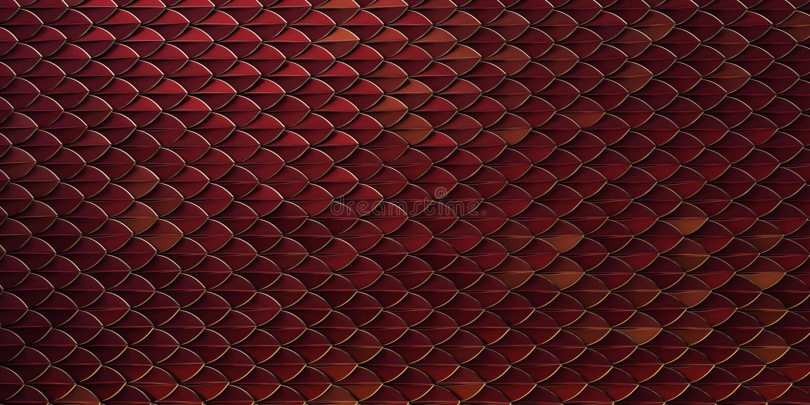Red and gold dragon reptile fish snake skales pattern backround. dragon skin 3d rendered background.  stock image