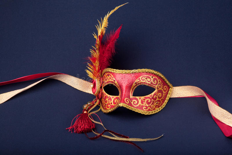 Download Red And Gold Feathered Mask Stock Photo - Image: 13034422