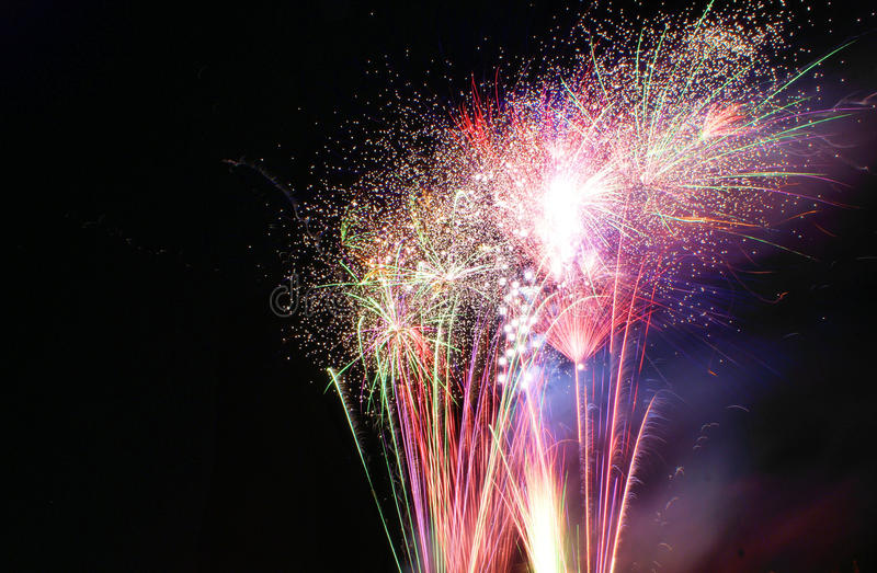 Red Fireworks Free Stock Photo: Red And Gold Fireworks Stock Photo. Image Of Night, Pink