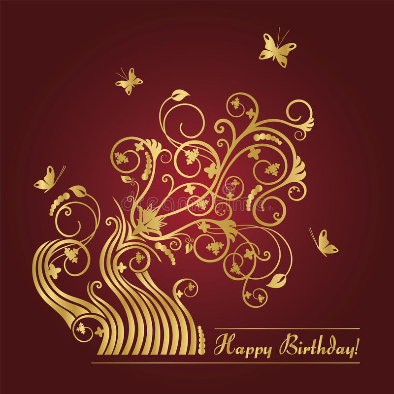 Download Red And Gold Floral Birthday Card Stock Vector - Image: 20804738