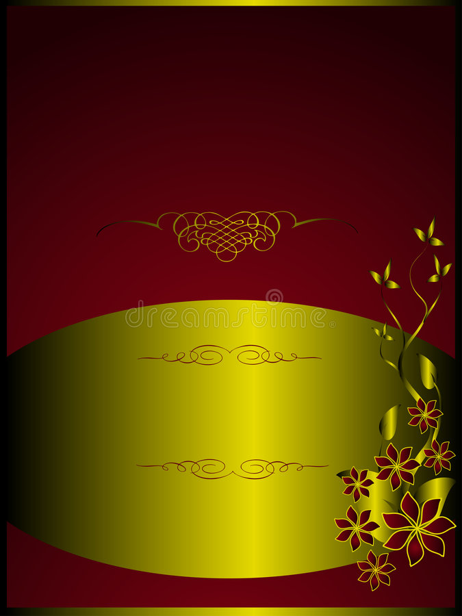 Download A Red And Gold Floral Menu Template Stock Vector - Image: 8978691