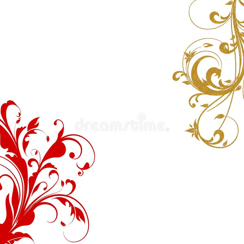 Red gold flourish swirls royalty free stock images