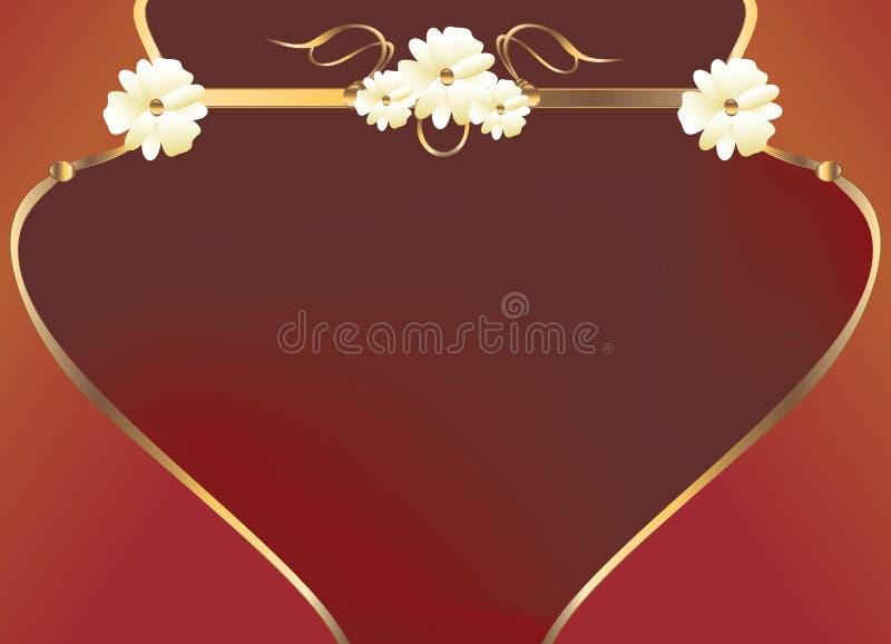 Red gold flower curve design royalty free illustration