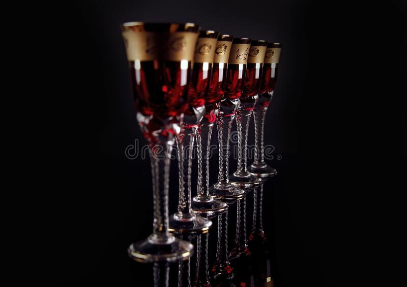 6 Red and Gold Footed Glass stock photo