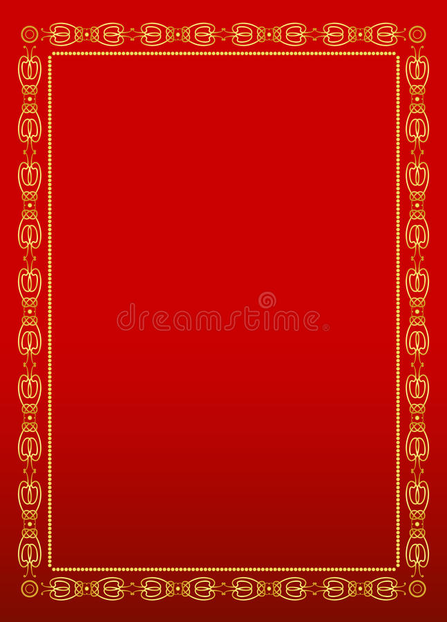 Red and gold frame background royalty free illustration