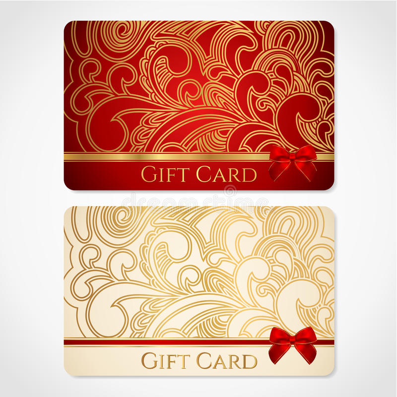 Red and gold gift card with floral pattern stock photos
