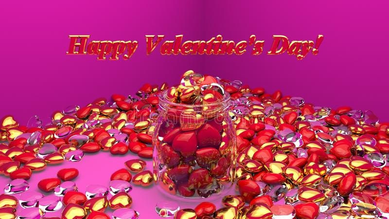Red, gold and glass heart in jar bokeh in pink room background for Happy Valentine`s day. 3d render. 3d illustration stock illustration